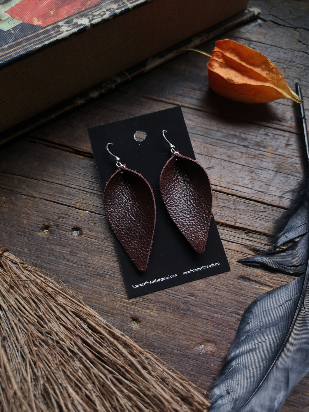 Leaf Earrings - Large - Chocolate