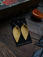 Load image into Gallery viewer, Pinched Leaf Earrings - Large - Canary Yellow - Hammerthreads