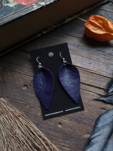 Pinched Leaf Earrings - Large - Dark Purple - Hammerthreads