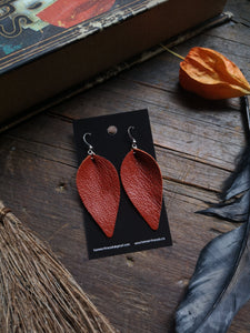Pinched Leaf Earrings - Large - Orange - Hammerthreads