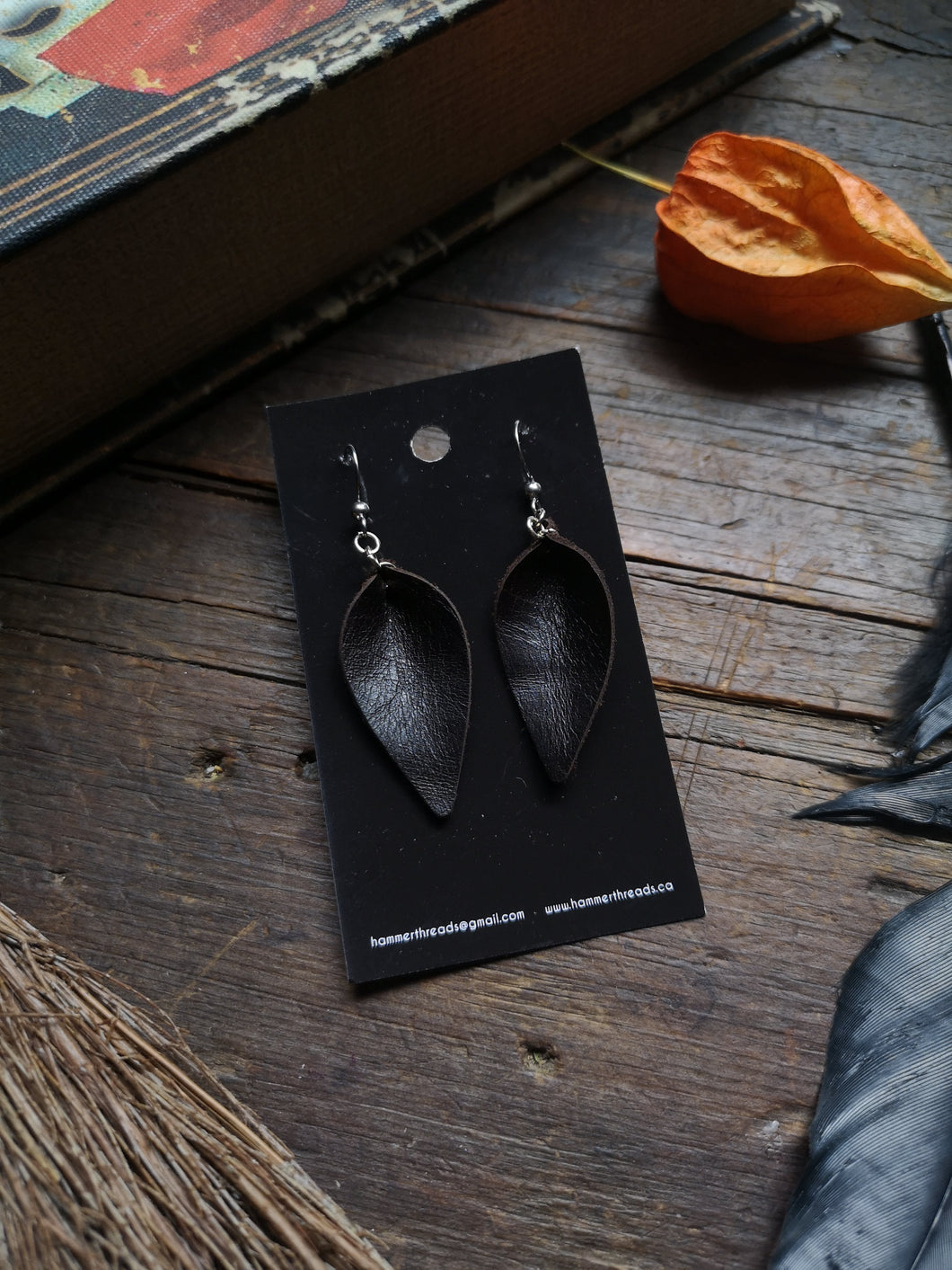 Leaf Earrings - Small - Dark Chocolate