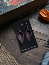 Load image into Gallery viewer, Pinched Leaf Earrings - Small - Chocolate - Hammerthreads