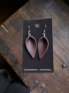 Pinched Leaf Earrings - Small - Chocolate - Hammerthreads
