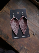Load image into Gallery viewer, Pinched Leaf Earrings - Large - Brown - Hammerthreads