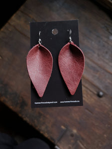 Leaf Earrings - Large - Wine