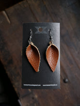 Load image into Gallery viewer, Pinched Leaf Earrings - Small - Carrot - Hammerthreads