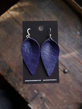 Load image into Gallery viewer, Pinched Leaf Earrings - Large - Dark Purple - Hammerthreads