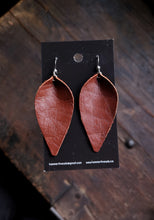 Load image into Gallery viewer, Pinched Leaf Earrings - Large - Rust - Hammerthreads