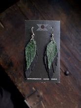 Load image into Gallery viewer, Feather Earrings - Forest Green and Black - Hammerthreads