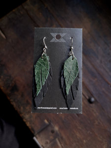 Feather Earrings - Forest Green and Black