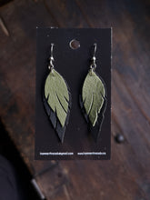 Load image into Gallery viewer, Feather Earrings - Light Green and Black