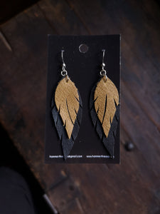 Feather Earrings - Camel and Black - Hammerthreads