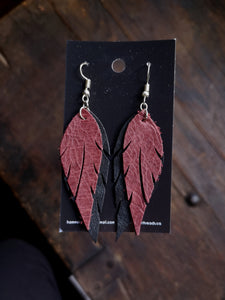 Feather Earrings - Wine and Black - Hammerthreads