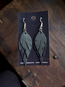 Feather Earrings - Dark Green and Black
