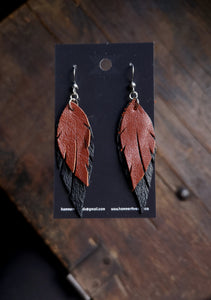 Feather Earrings - Rust and Black - Hammerthreads