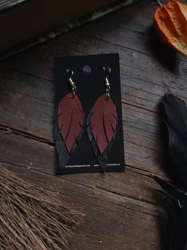 Feather Earrings - Maroon and Black