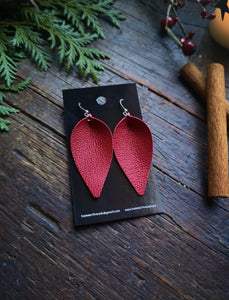 Pinched Leaf Earrings - Large - Cherry Red - Hammerthreads
