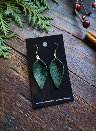 Pinched Leaf Earrings - Small - Forest Green - Hammerthreads