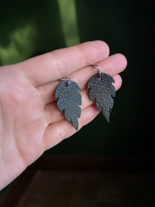 Leaf Earrings - Forest Green