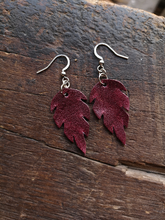 Load image into Gallery viewer, Leaf Earrings - Raspberry
