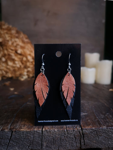 Feather Earrings - Copper and Black