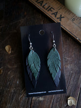 Load image into Gallery viewer, Feather Earrings - Forest Green and Black