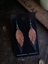 Load image into Gallery viewer, Feather Earrings - Copper and Black - Hammerthreads
