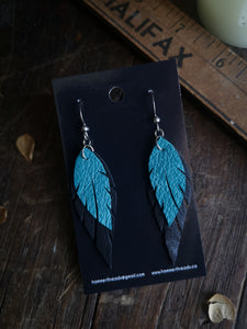 Feather Earrings - Turquoise and Black