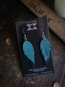Feather Earrings - Forget Me Not and Black