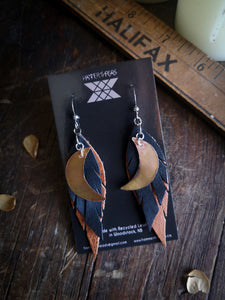 Moon Feather Earrings - Copper and Black with Copper Moon