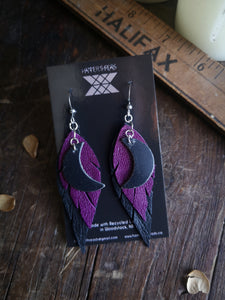 Dark Moon Feather Earrings - Bright Purple and Black - Hammerthreads