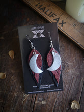 Load image into Gallery viewer, Moon Feather Earrings - Maroon and Black