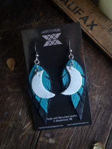 Moon Feather Earrings - Turquoise and Black - Hammerthreads