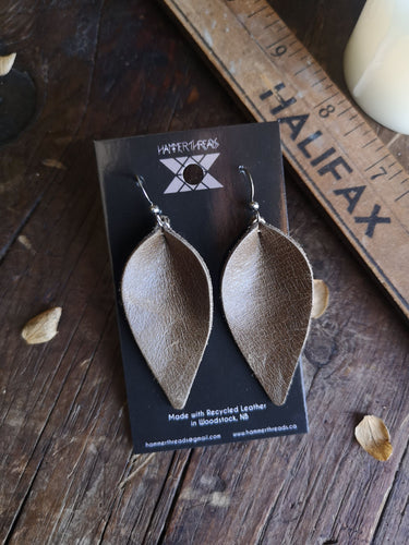 Pinched Leaf Earrings - Large - Olive - Hammerthreads