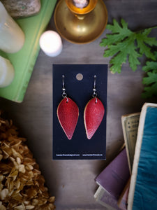 Leaf Earrings - Ruby