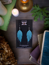Load image into Gallery viewer, Feather Earrings - Forget Me Not and Black - Hammerthreads