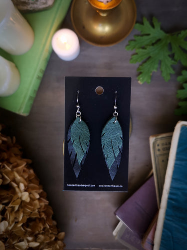 Feather Earrings - Forest Green and Black - Hammerthreads