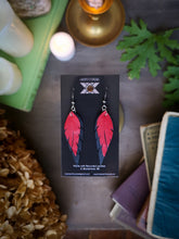 Load image into Gallery viewer, Feather Earrings - Cherry Red and Black