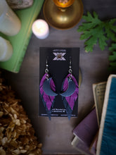 Load image into Gallery viewer, Dark Moon Feather Earrings - Bright Purple and Black - Hammerthreads
