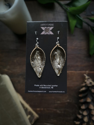 Pinched Leaf Earrings - Small - Gold - Hammerthreads