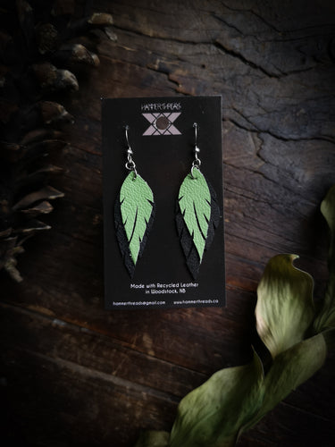 Feather Earrings - Kiwi and Black - Hammerthreads