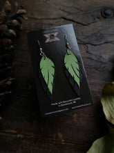 Load image into Gallery viewer, Feather Earrings - Kiwi and Black - Hammerthreads