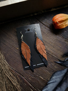 Feather Earrings - Copper and Black - Hammerthreads