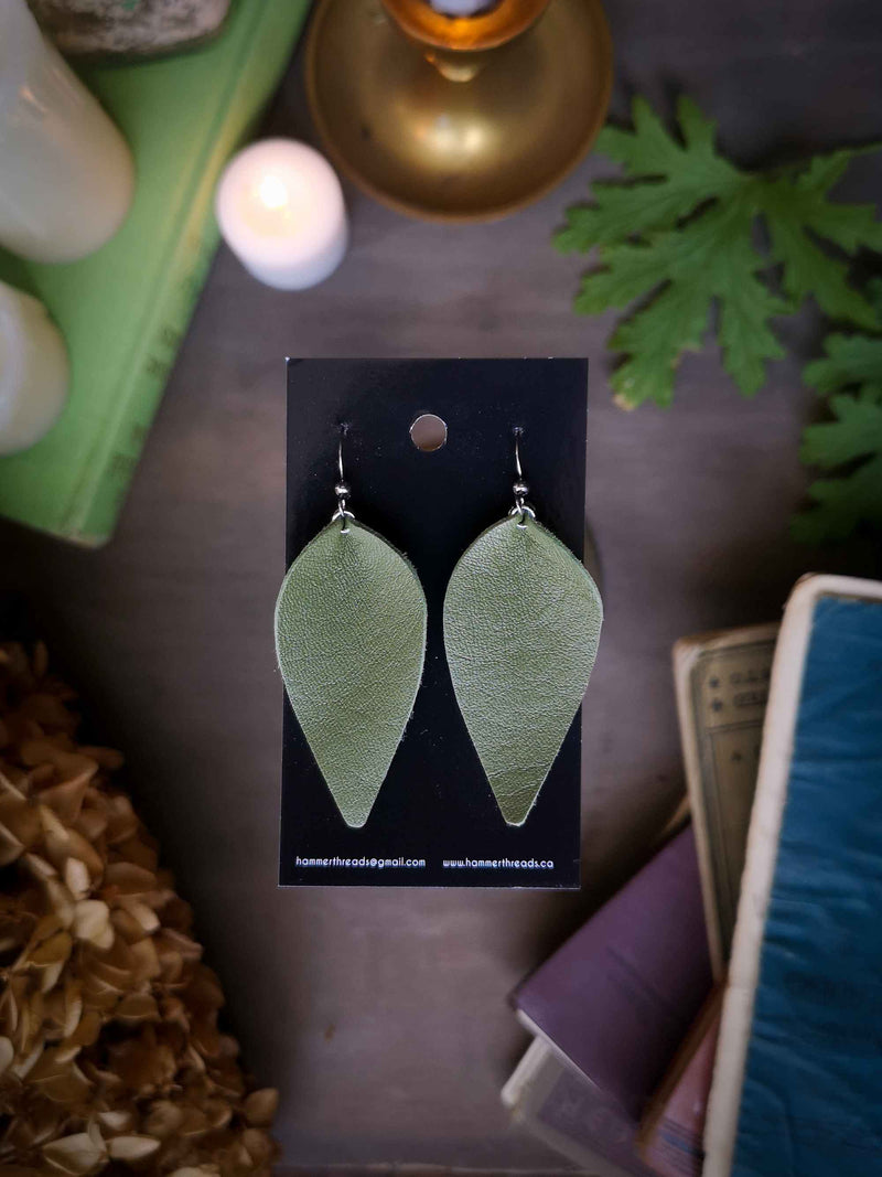 Pinched Leaf Earrings - Large