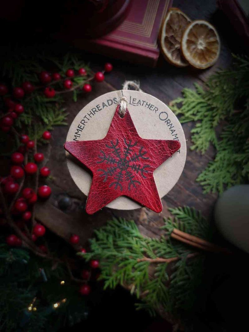 Leather Star Ornament in Ruby Color with Sample Engraving