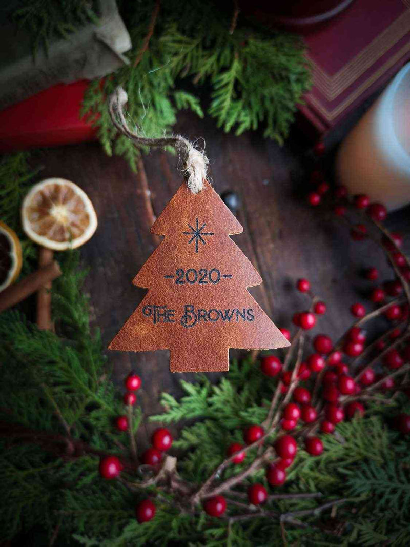 Leather Tree Ornament in Whiskey Color with Family Name Engraving