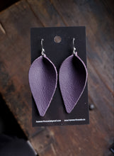 Load image into Gallery viewer, Pinched Leaf Earrings - Large - Light Purple - Hammerthreads
