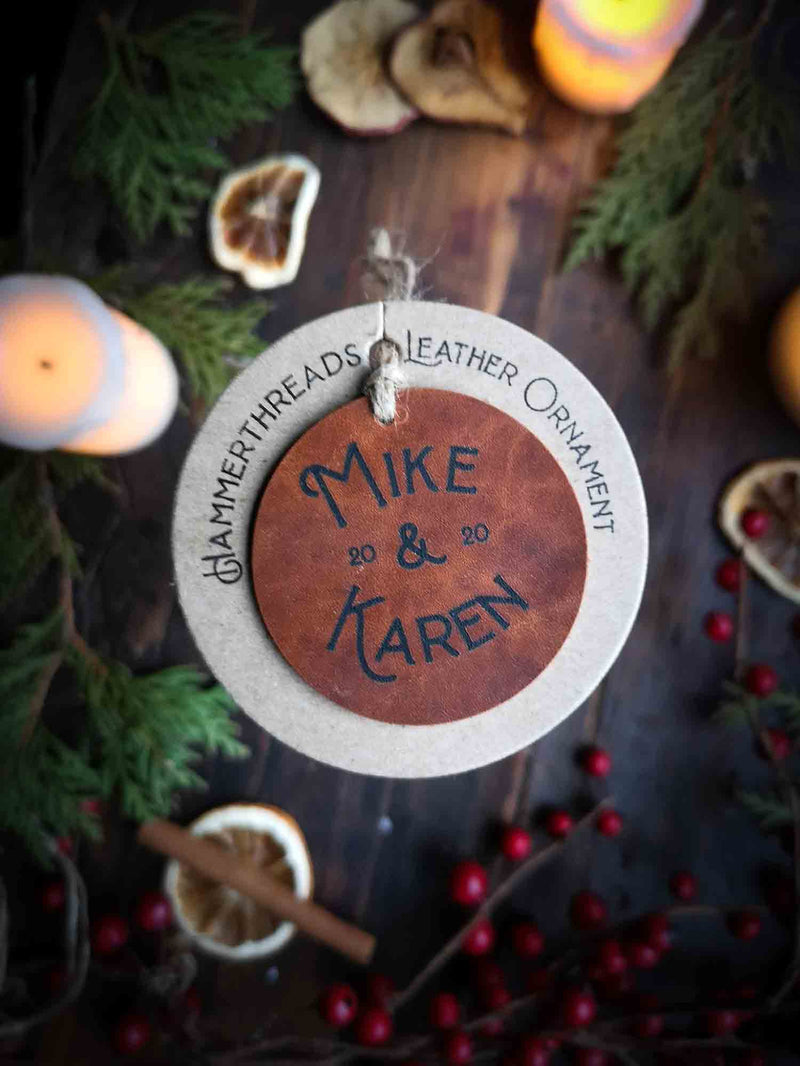 Personalized Leather Ornaments For Couples