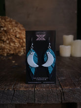 Load image into Gallery viewer, Moon Feather Earrings - Turquoise and Black - Hammerthreads