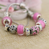 Silver Plated Women Bracelet Pink or Blue